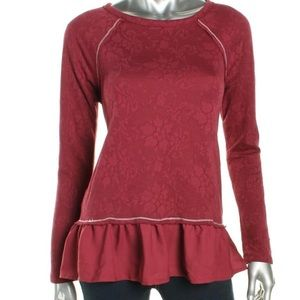 Juniors Peplum Top Floral Print Raglan Sleeves